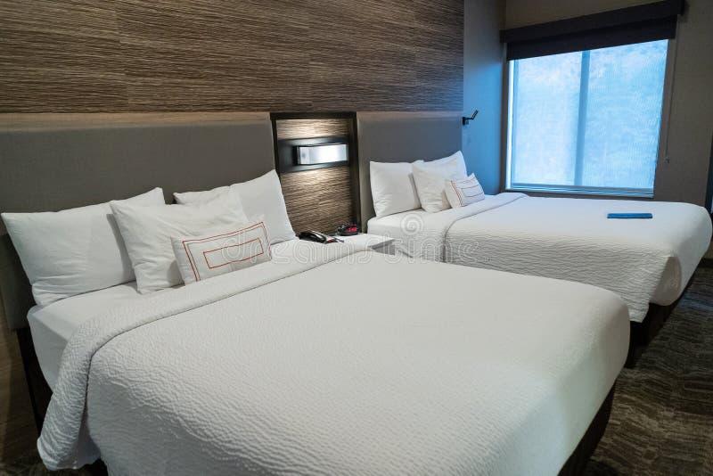 Chambre d'hôtel moderne avec deux grands lits, avec la conception contemporaine images stock