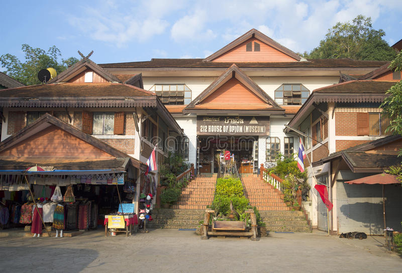 «Chambre d'opium» dans Ciag Saen Triangle d'or, Thaïlande image libre de droits