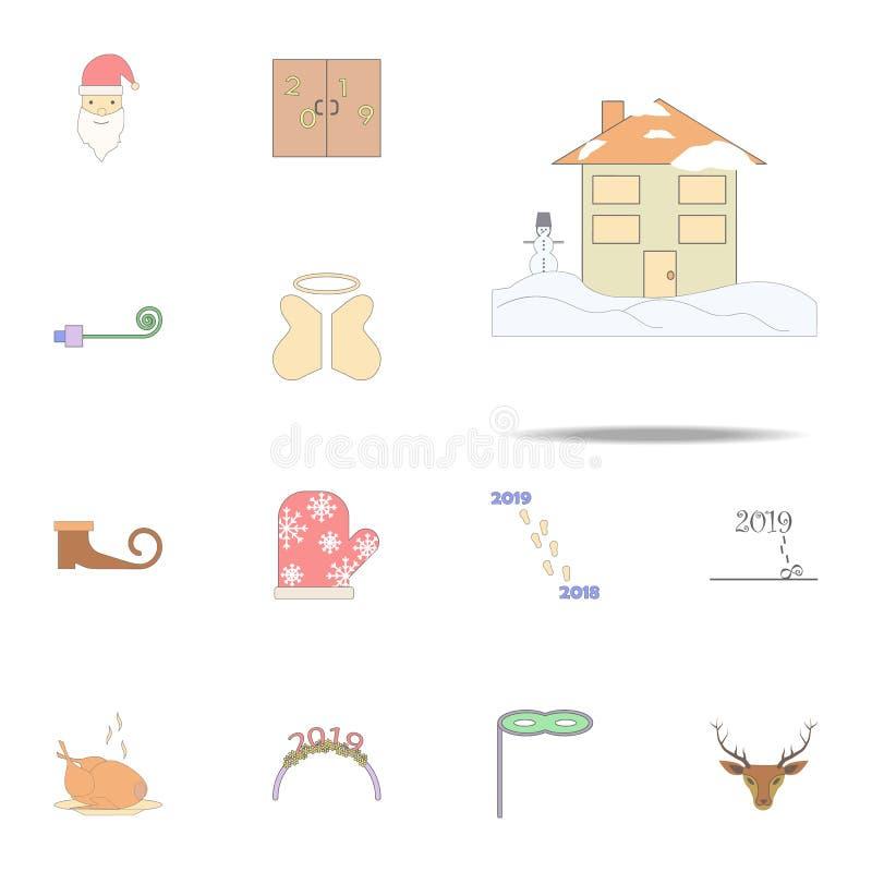Chambre dans l'icône colorée par réveillon de Noël Ensemble universel d'icônes de vacances de Noël pour le Web et le mobile illustration libre de droits