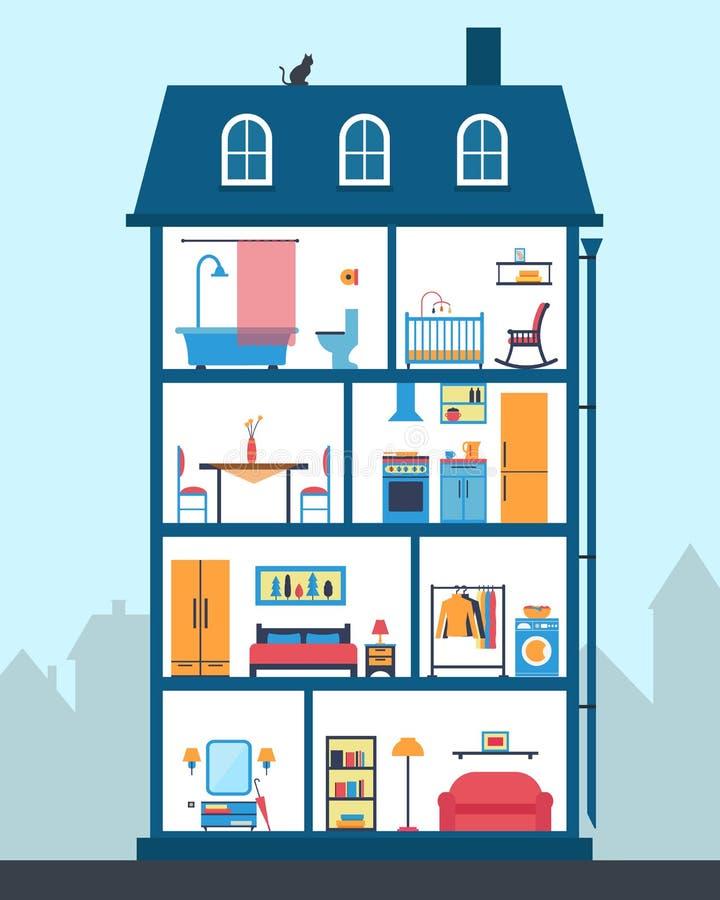 Chambre dans la coupe Intérieur moderne détaillé de maison illustration stock
