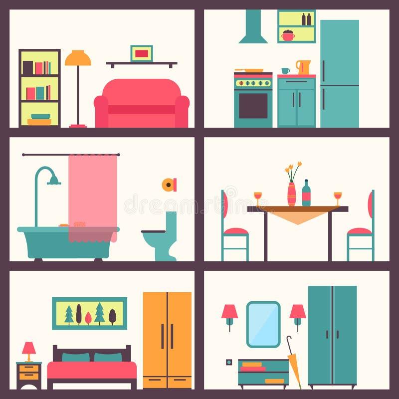 Chambre dans la coupe Intérieur moderne détaillé de maison illustration libre de droits