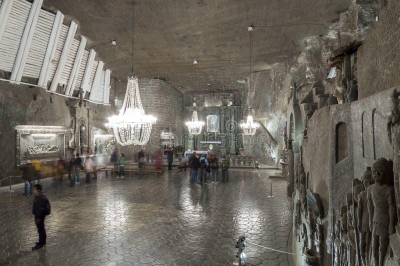 Chambre dans la mine de sel dans Wieliczka, Pologne photos libres de droits