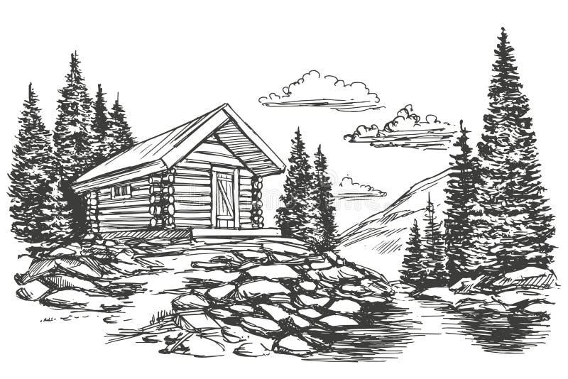Chambre dans le croquis tiré par la main d'illustration de vecteur de paysage de montagne illustration stock