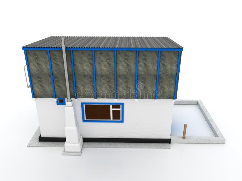 Chambre dans le village de la brique blanche â2 illustration stock