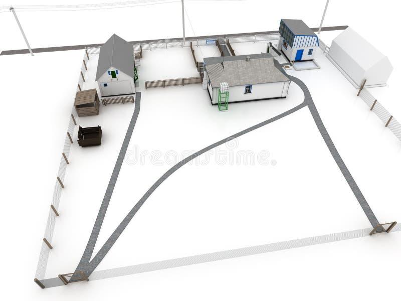 Chambre dans le village de la brique blanche â4 illustration libre de droits