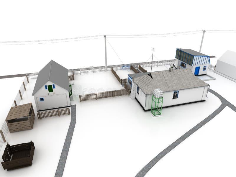 Chambre dans le village de la brique blanche â5 illustration stock