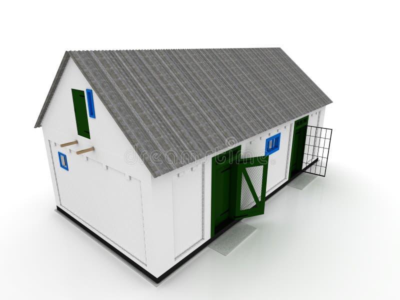 Chambre dans le village de la brique blanche â8 illustration stock