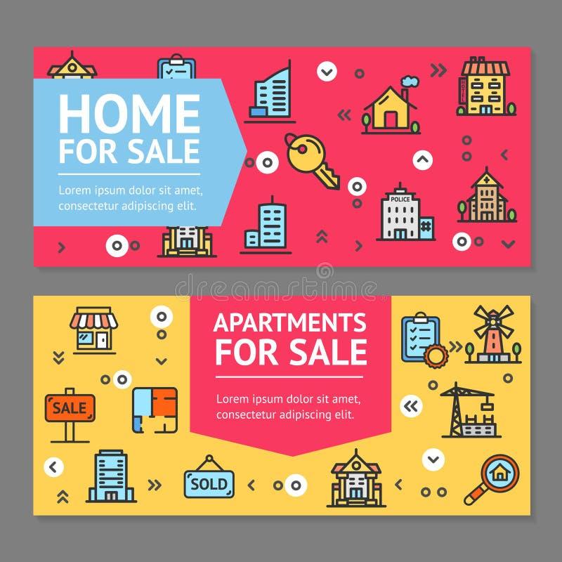 Chambre de bâtiment ou maison et appartement à vendre des cartes en liasse d'affiches de bannière d'insecte Vecteur illustration libre de droits