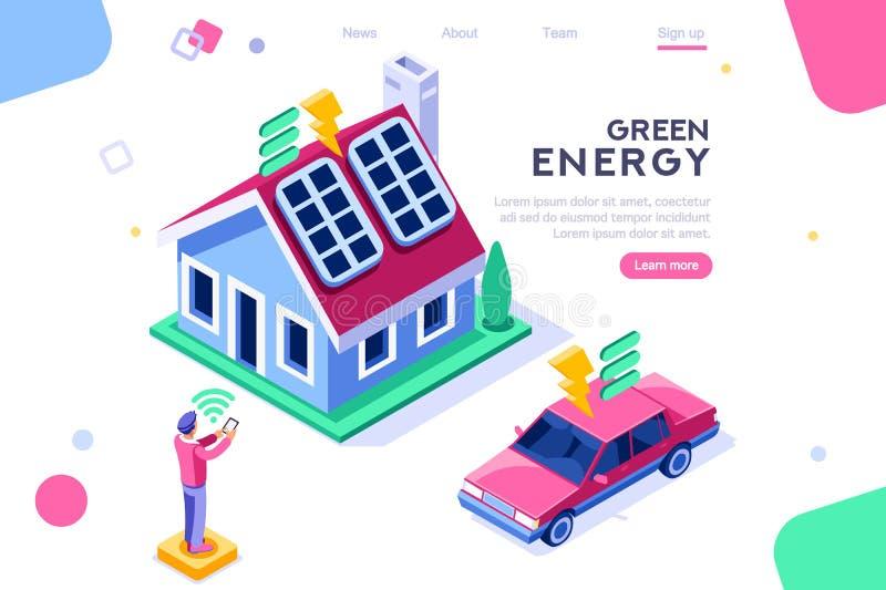 Chambre de bâtiment de panneau solaire de Digital illustration libre de droits