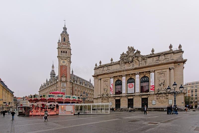 Chambre de commerce and opera building on theatre square in Lille stock photo