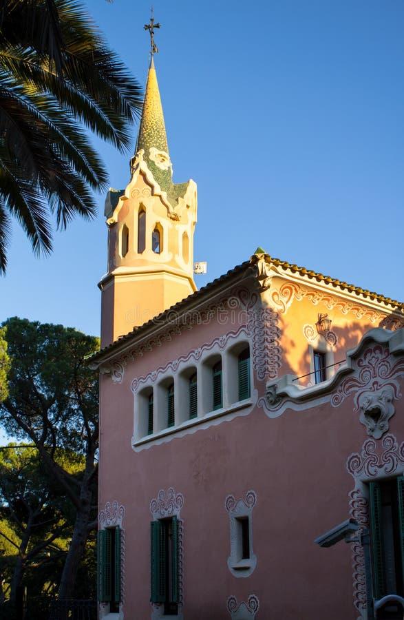 Chambre de Gaudi en parc Guell à Barcelone photographie stock libre de droits