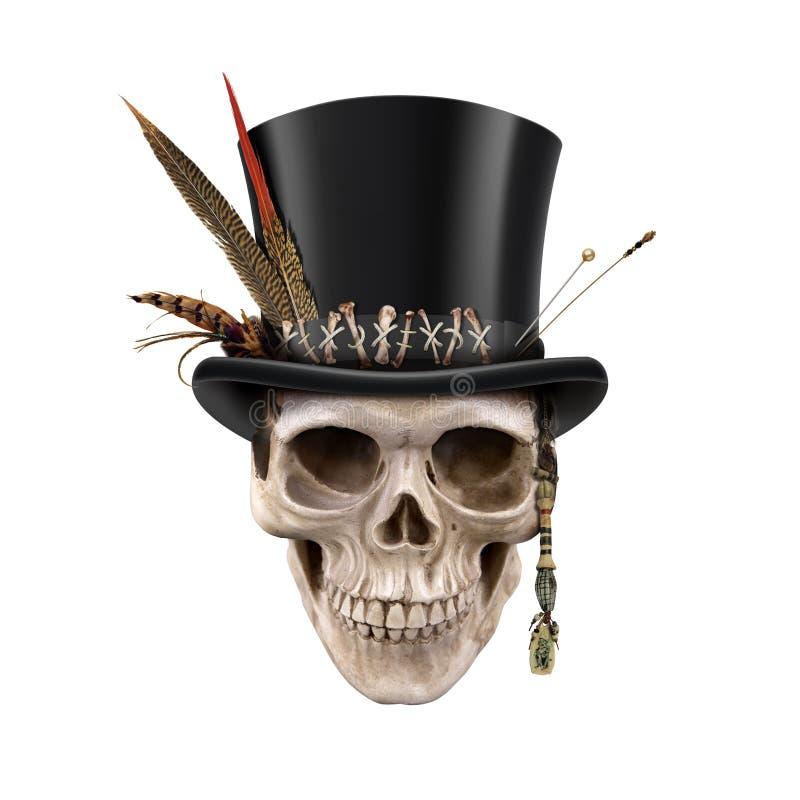 Chambre de Halloween d'art de Digital de crânes illustration stock
