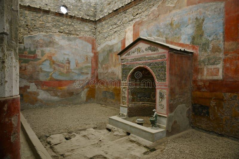Chambre de la petite fontaine Pompeii, Italie image libre de droits