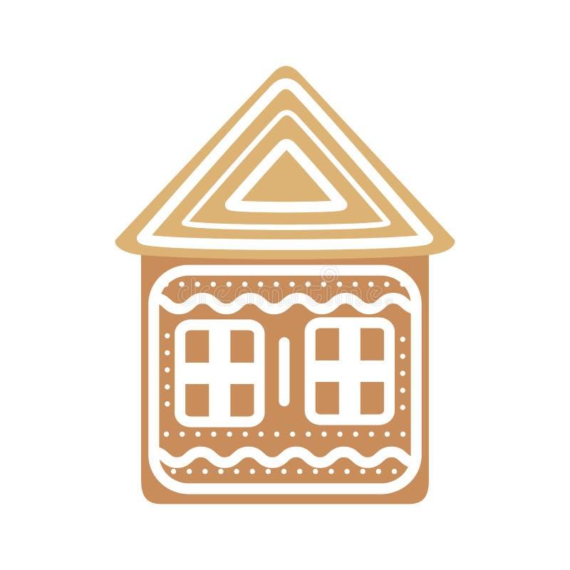 Chambre de pain d'épice de fête de bande dessinée sur un fond blanc Vecteur illustration de vecteur