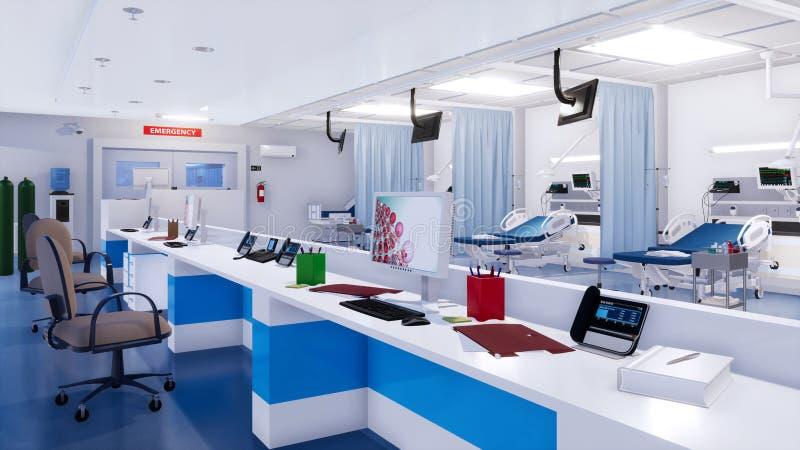 Chambre de secours moderne avec la station vide 3D d'infirmières illustration de vecteur