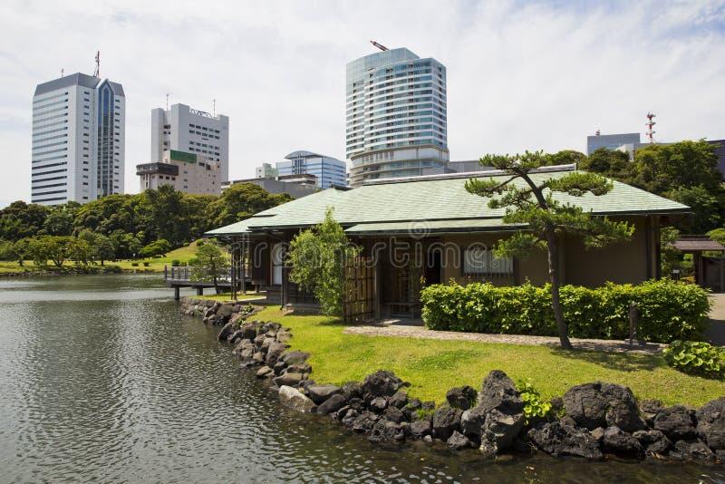 Chambre de thé de Nakajima et la ville images stock