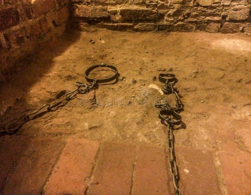 Chambre de torture médiévale, prison images libres de droits
