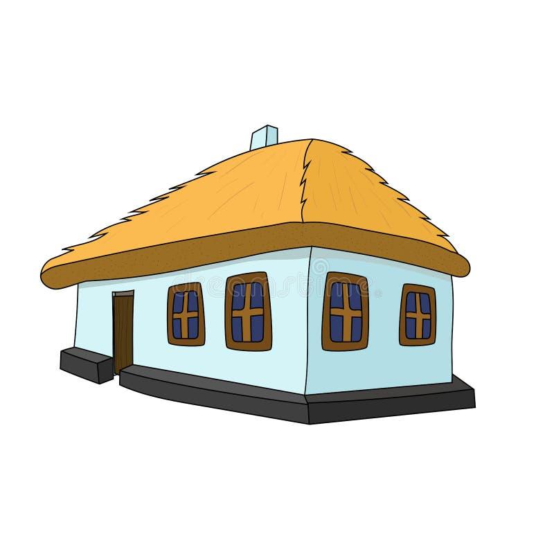 Chambre de vecteur avec le toit couvert de chaume illustration libre de droits