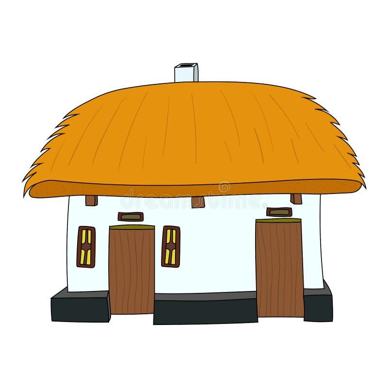 Chambre de vecteur avec le toit couvert de chaume illustration de vecteur