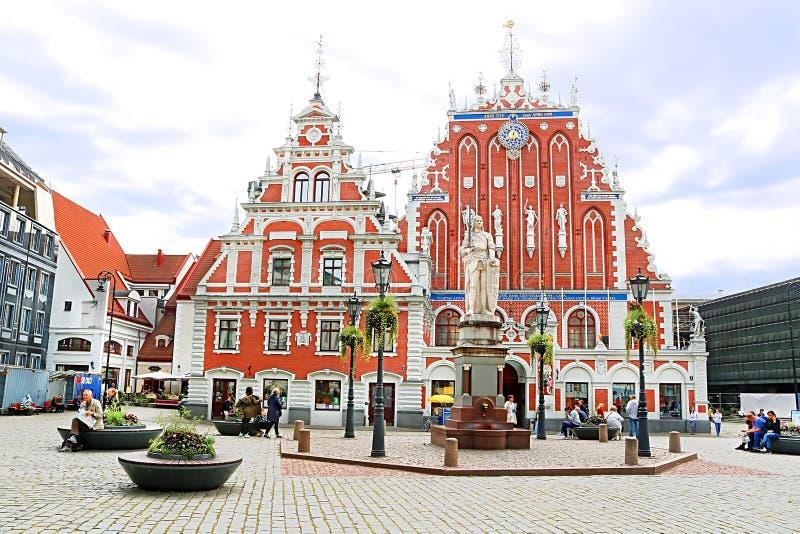 Chambre des points noirs dans la vieille ville, Riga, Lettonie photo stock