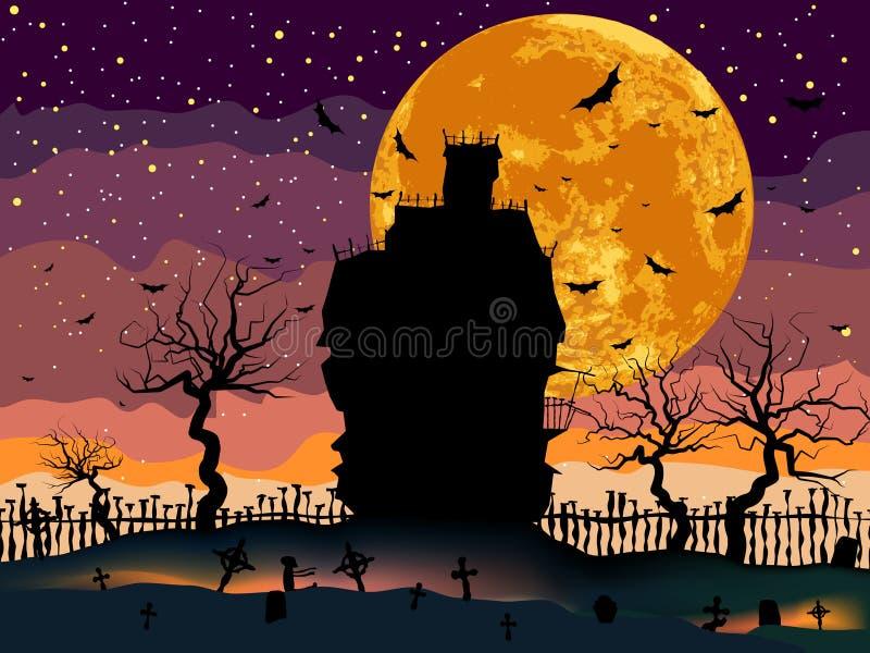 Chambre effrayante d'obscurité de Veille de la toussaint. illustration libre de droits
