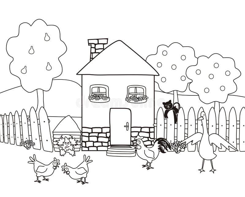 Chambre et jardin avec des animaux de ferme, livre de coloriage illustration stock