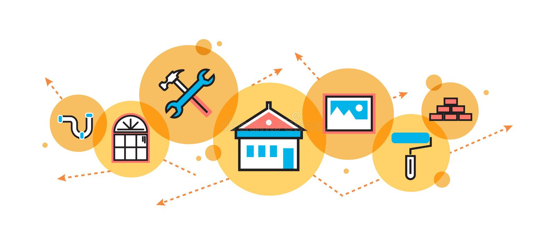Chambre et maison transformant le processus pour la bannière et l'en-tête de site Web illustration libre de droits
