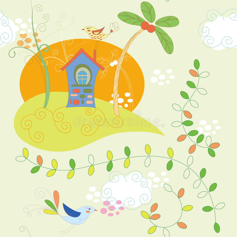 Chambre et oiseau illustration stock
