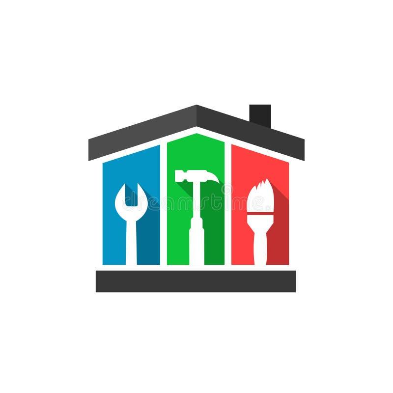 Chambre et outils comme concept d'entretien illustration de vecteur