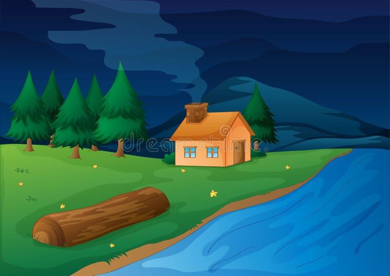 Chambre et rivière illustration libre de droits