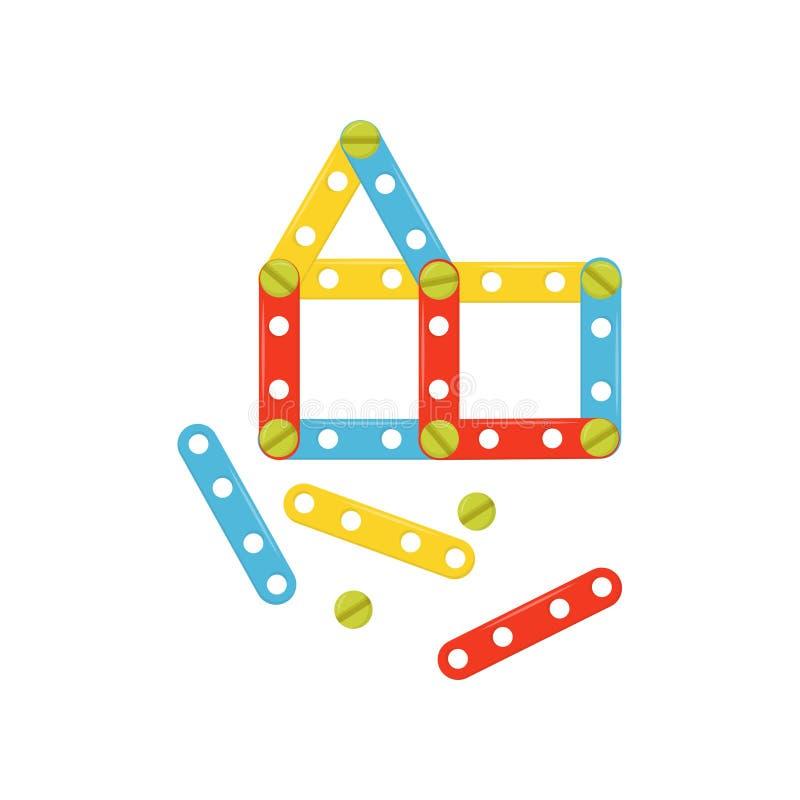 Chambre faite de détails en plastique colorés Constructeur d'enfants Jeu de construction pour des enfants Jouet de bâtiment Vecte illustration stock