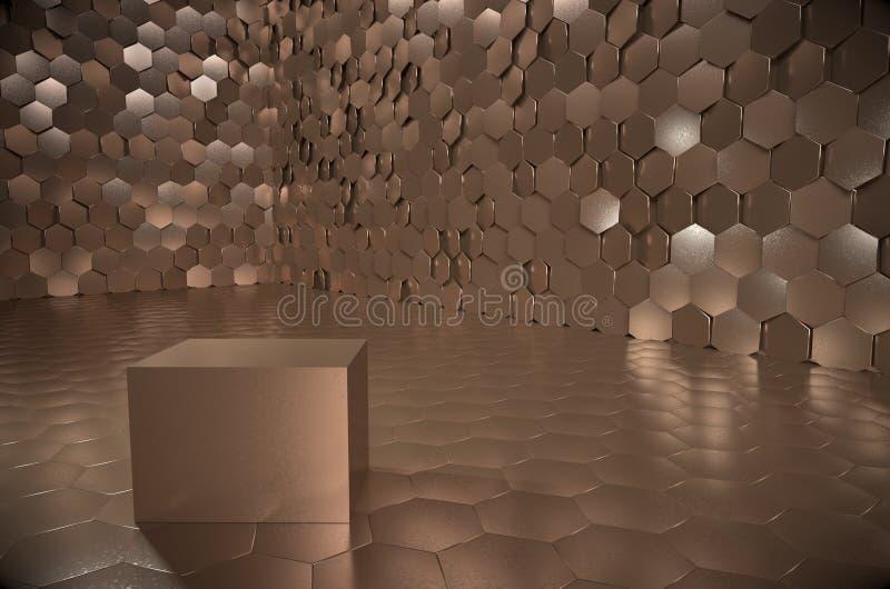 Chambre forte énorme avec le cube d'or lourd illustration libre de droits