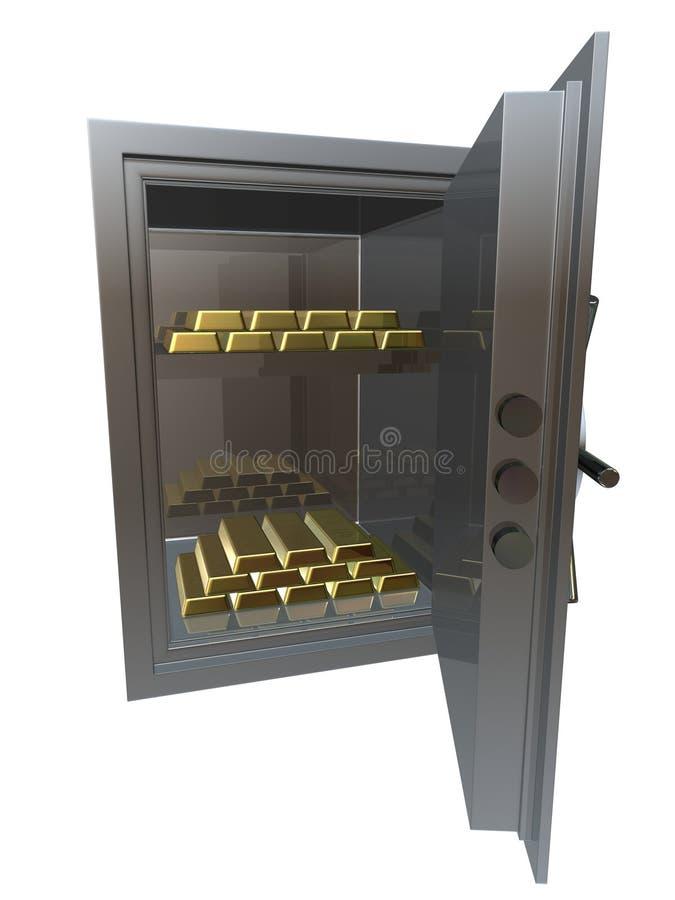 Chambre forte avec des bars d'or illustration stock