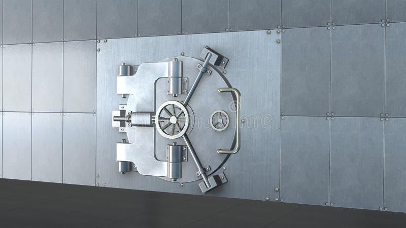 Chambre forte de banque, porte en métal fermée illustration stock