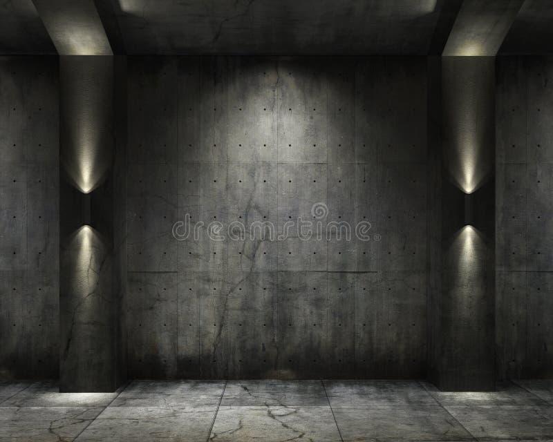 Chambre forte grunge de concret de fond illustration libre de droits