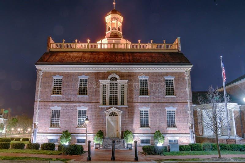 Chambre historique d'état du Delaware la nuit photographie stock libre de droits