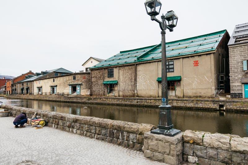 Chambre le long du canal d'Otaru en hiver au Hokkaido, Japon photo stock