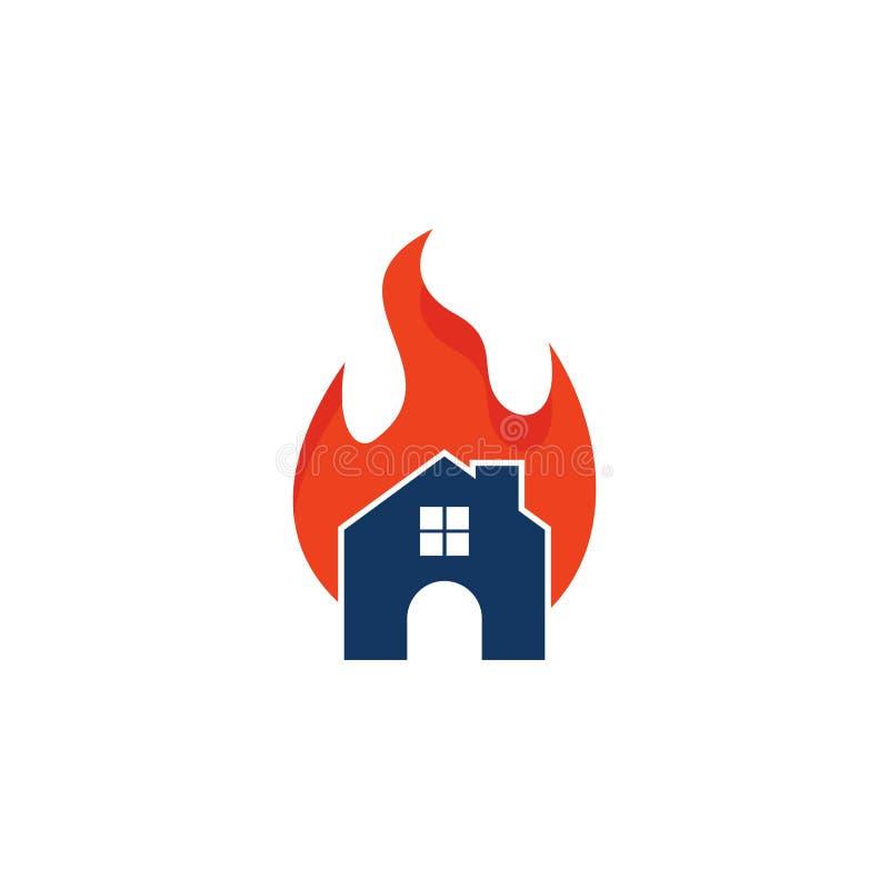 Chambre Logo Icon Design de brûlure illustration stock