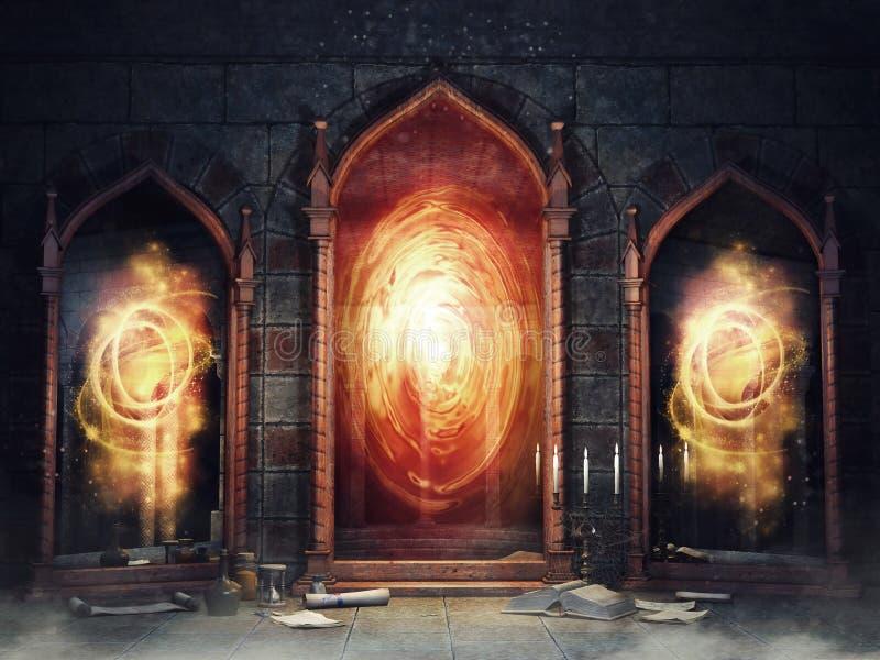 Chambre magique avec des miroirs illustration de vecteur