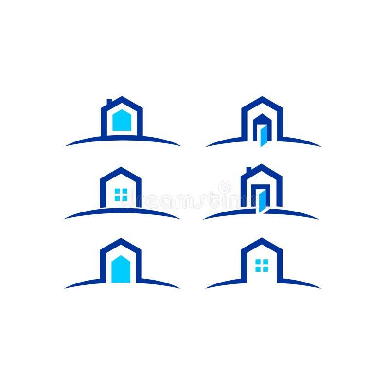 Chambre, maison, immobiliers, logo, conception bleue de vecteur d'icône de bâtiment de hausse de symbole d'architecture illustration libre de droits