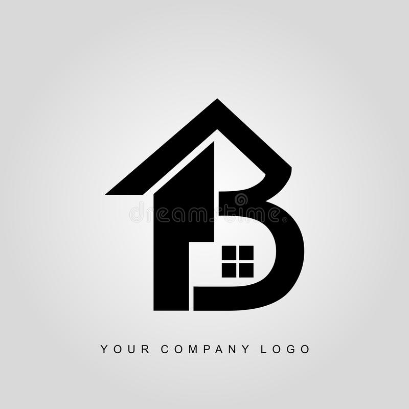 Chambre, maison, lettre b de logo d'immobiliers illustration stock