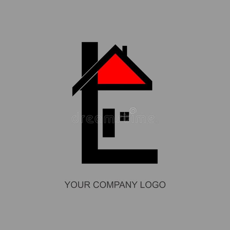 Chambre, maison, lettre l de logo d'immobiliers illustration stock
