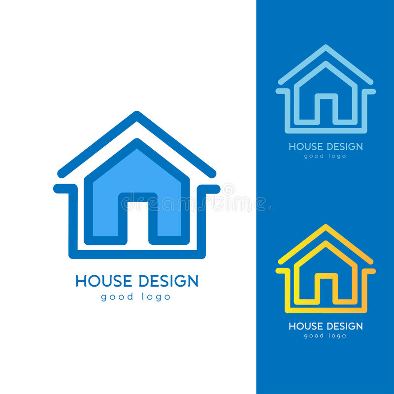 Chambre moderne Logo Design Template Flat Simple illustration libre de droits