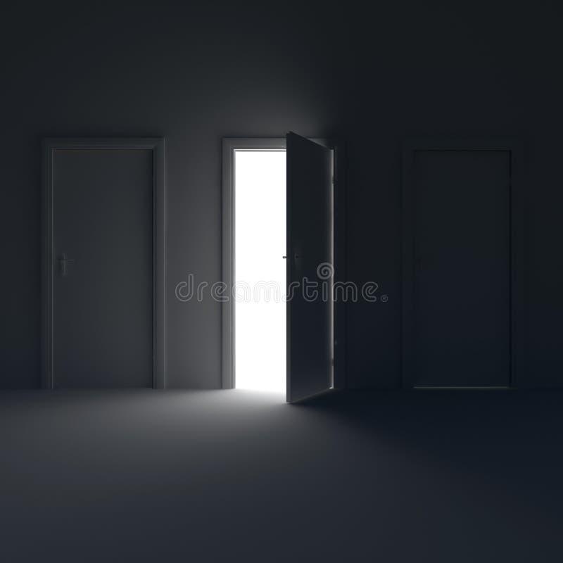 Chambre noire avec la porte ouverte et la lumière derrière elle illustration 3D illustration stock