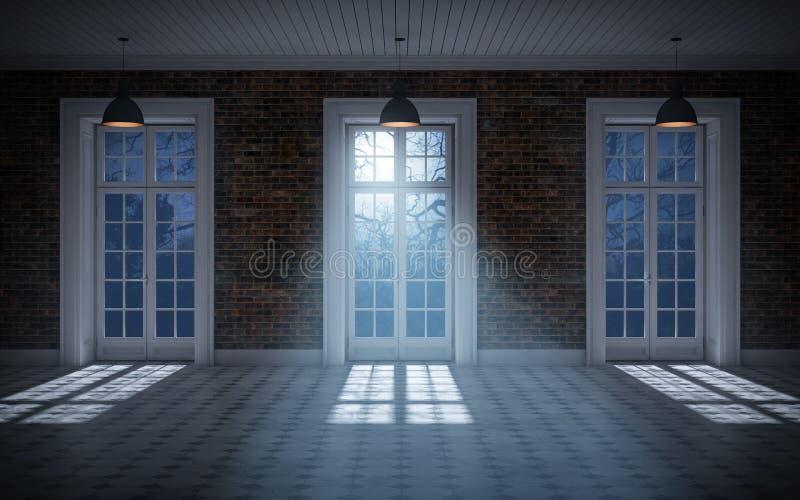 Chambre noire vide avec le clair de lune venant par des fenêtres 3d rendent illustration de vecteur