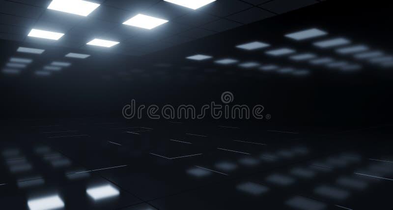 Chambre noire vide avec les lumières carrées sur le plafond et le Flo réfléchi illustration stock