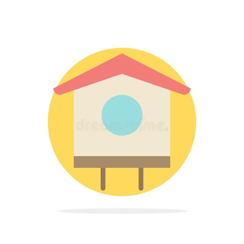 Chambre, oiseau, volière, icône plate de couleur de fond de cercle d'abrégé sur ressort illustration libre de droits