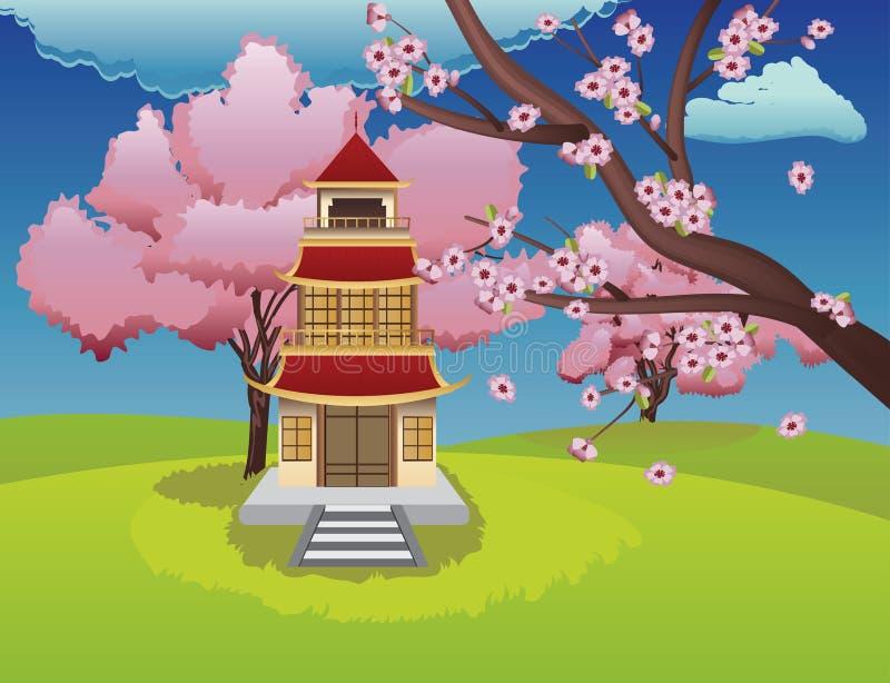 Chambre orientale et Sakura de floraison illustration de vecteur