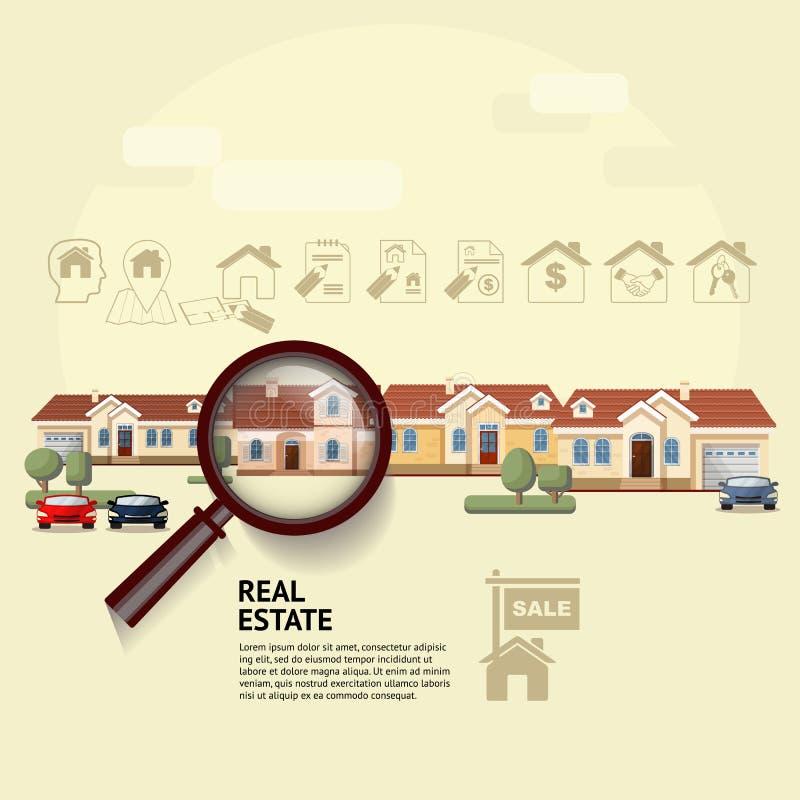 Chambre sous la loupe Illustration de vecteur des immobiliers illustration stock