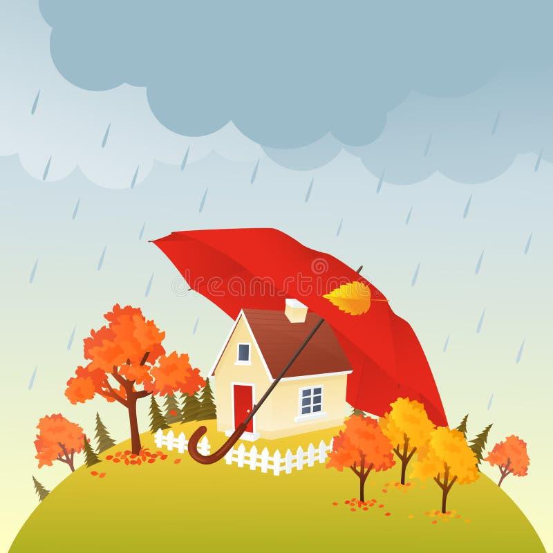 Chambre sous le parapluie illustration stock